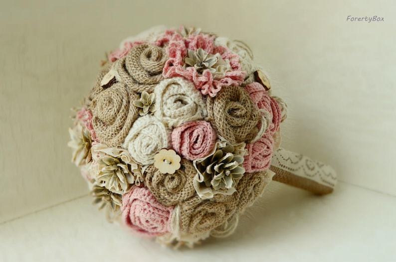 Bridal ivory lace boho ceremony dusty pink Rustic bouquet blush with burlap flowers for boho bride Winter alternative wedding pine cone