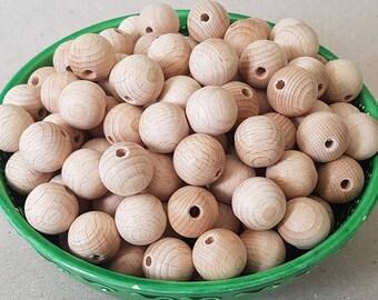 Ausverkauf! Großhandel 20 mm 13/16 '' 10/20/30/50 Stück Holz Perlen Holz Buche Kinderkrankheiten unfertigen natürlichen organischen Perlen liefert Spielzeug