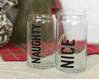 Naughty et Nice verre à bière ensemble pour Noël ou les vacances
