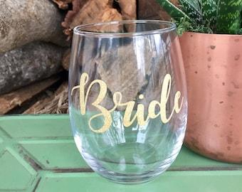 Bride, wine glass for bride, future mrs