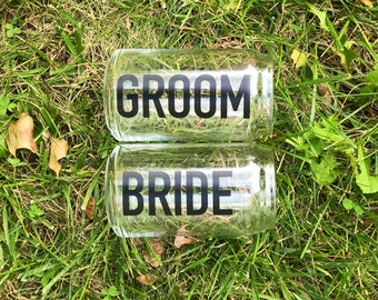 Bride and Bride or Groom and Groom beer glasses for wedding, gift, newlyweds or engaged