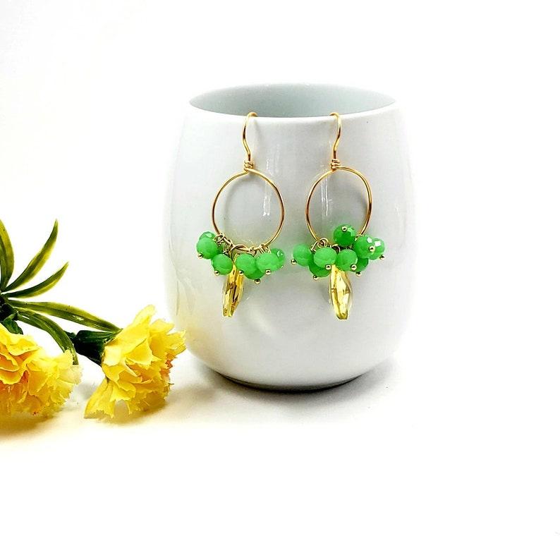 Crystal hoop earrings Drop earrings for women Boho hoop earrings gold Chandelier earrings gemstone Hoop earrings with charm