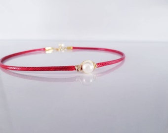 Red Necklace, Pearls Necklace, Mother Gift,  Dainty Necklace, Gift for Women,  Mother Necklace, Women Necklace,