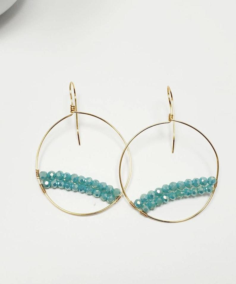 March birthstone Hoop Aquamarine gold Aquamarine Earrings Aquamarine jewelry Raw aquamarine Earrings,Hoop Jewelry Raw crystal earrings
