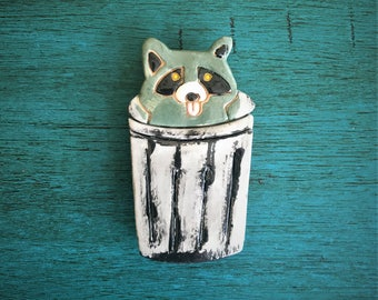 Ceramic Raccoon in Trash Can Magnet or Ornament