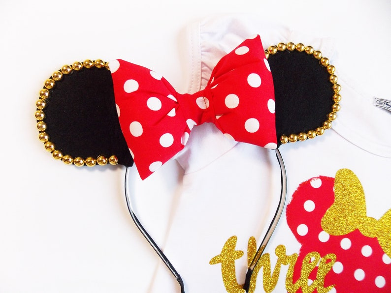 Red and gold Minnie mouse set,Personalized Girls Birthday Minnie Red Polka,Minnie Mouse dress Minnie Mouse birthday outfit red
