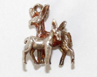 Vintage Sterling Silver Bracelet Charm Deer Doe With Fawn (1.3g)