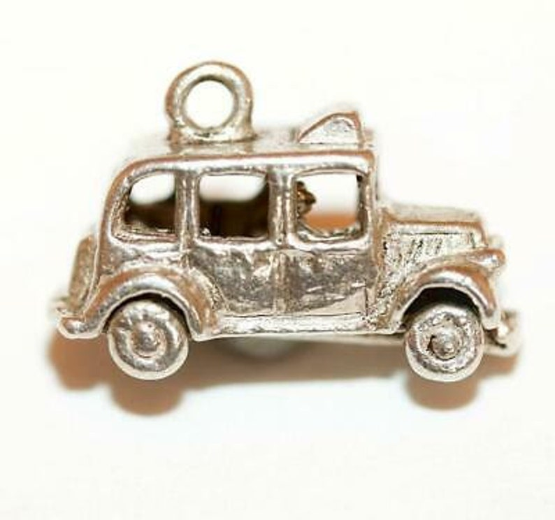 Opening London Taxi Cab Sterling Silver Vintage Bracelet Charm With Gift Box 3g