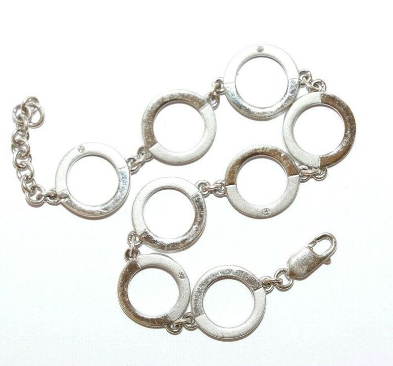 Diamond Accent Bracelet Hallmarked London 7 Sterling Silver Circle Link