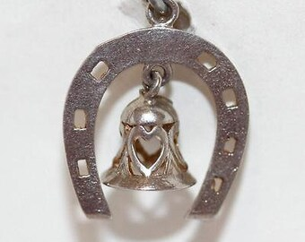 Vintage Wedding Bell Horseshoe Sterling Silver Bracelet Charm / Heart Detail