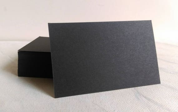 Black business cards, black cardstock, blank black cards, flash cards, name  cards, message cards, memos, thank you cards, place cards