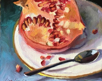 Pomegranate, Fruit, Still Life Oil Painting, One of a Kind, Handmake Artwork