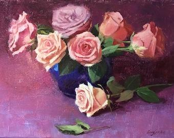 Rose Bouquet, Rose in Vase Original Oil Painting, Pink Rose, Rose Still Life, Framed