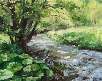 Springtime, River, Trees, Plant, Forest, Original Oil painting, Ling Strube