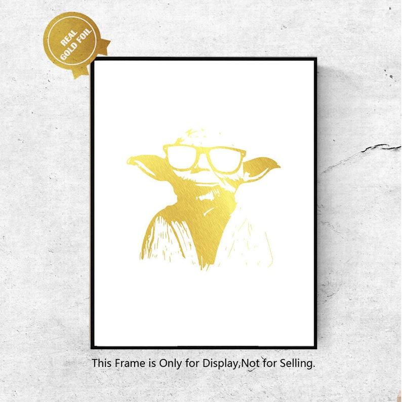 131ee74f4eaf Star Wars Yoda Gold Foil Art Print Movie Wall Hanging Foil