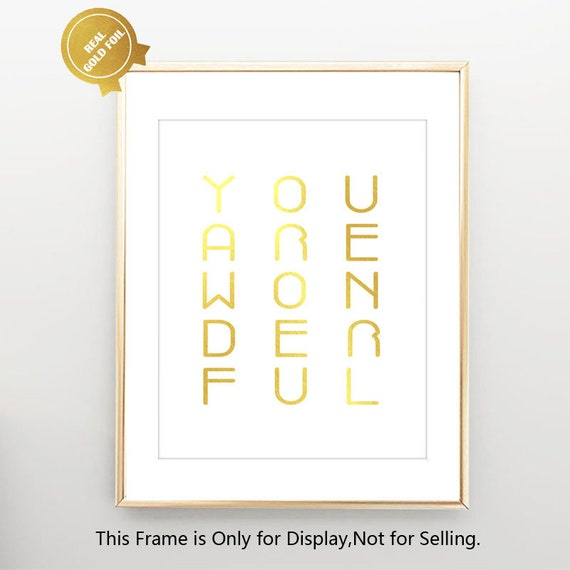 You Are Wonderful Gold Foil Quotes Inspirational Quotes Art Etsy