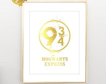 Platform 9 3/4 - Harry Potter Minimalist Poster - Typography Print - Hogwarts Express Gold Foil Art Print