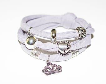 Wrap bracelet, Ladies bracelet, Silver, Crown, Heart