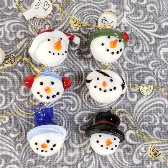 Christmas Green snow man Glass Lampwork Beads-Jewelry making beads