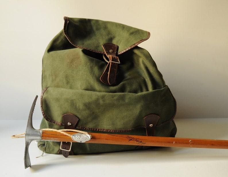 Canvas Rucksack Rucksack Military Backpack Leather Hiking Backpack Bag Mountain Climbing Khaki Vintage Canvas