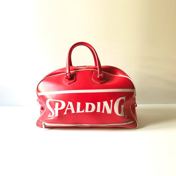 Vintage Spalding Duffel Gym Bag - Vinyl - Red Spor