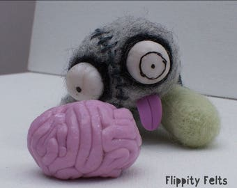 OOAK adorable, quirky needle-felted zombie Dead Eric:I Only Love You For Your Brains