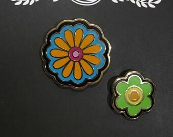 Flower Power enamel pin set