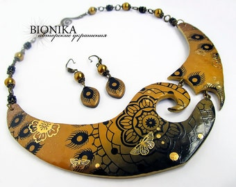 f904f1dce Ethnic Necklace Boho Earring black gold Polymer Clay Jewelry set Golden  Flower Butterfly bib-necklace Ombre luxury jewelry new year s night