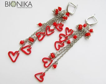 d7dc62378 Earrings Long dangle lightweight Red Heart polymer clay kawaii charms  miniature on chain rocker sexy modern Jewelry Gift for beloved woman