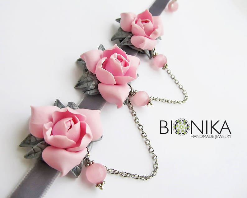 87bab2e11 Floral necklace Gardenia polymer clay graceful velvet сhoker