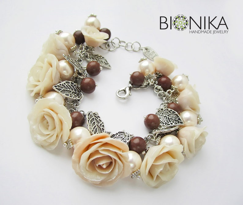68e35ac47 Floral vintage bracelet large ivory white roses polymer clay