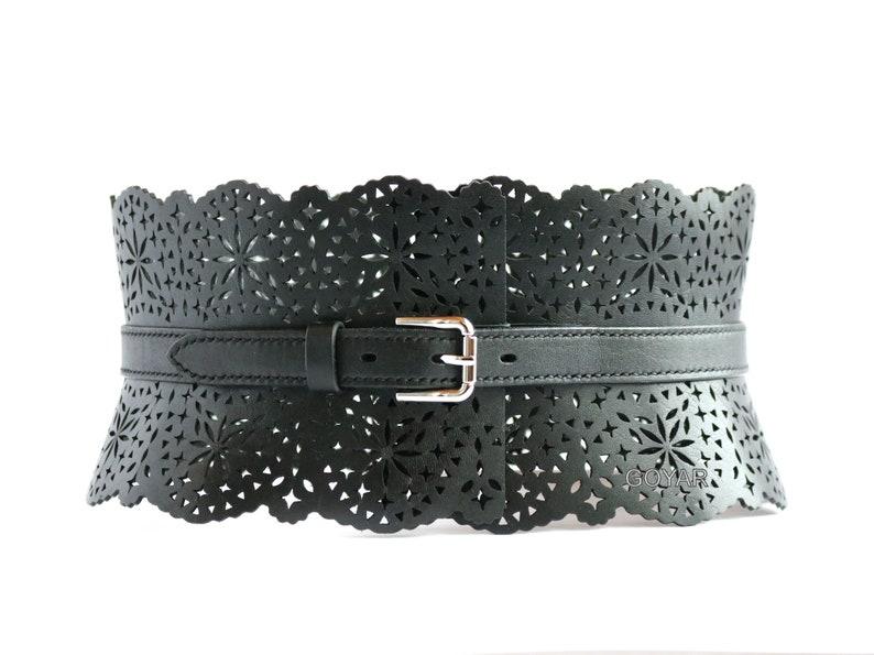 Leather waist belt Wide leather corset belt for women Openwork leather corset belt Handmade.