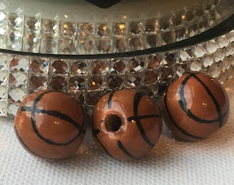XL Peruvian Ceramic Brown Basketball Beads, Large (set of 3)