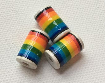 Peruvian Ceramic Rainbow Tube Bead, 15mm (set of 3)