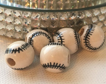 Peruvian Ceramic Baseball Beads, Large (set of 5)