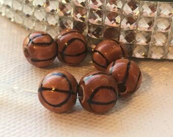 Peruvian Ceramic Basketball Beads, Small (set of 6)