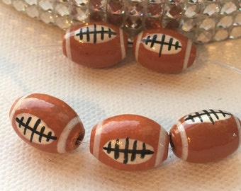 Peruvian Ceramic Football Beads, Large (set of 5)