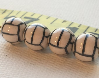 Peruvian Ceramic Soccer Ball Beads, Small (set of 4)