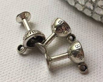 Set of 3 Silver Bride Wedding Goblet Charm Pendants