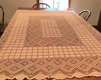 Vintage Filet Lace Tablecloth-Excellent