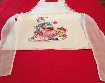 Vintage Handmade Child's Apron with Cross Stitch, Crochet, Tatting  --        Excellent