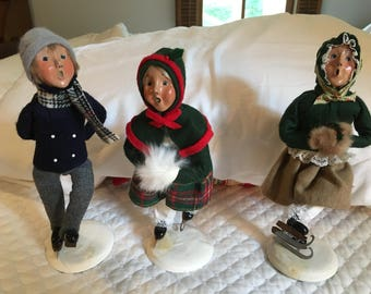 "Three Byers Choice Skaters, 11"" Colonial Figurines --Signed"