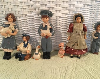 Colonial Williamsburg Children and Duck Figurines by Ike and Sandy Spillman Williamsburg, VA Artists