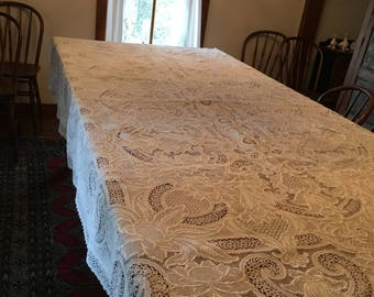 Vintage Needle Lace Tablecloth