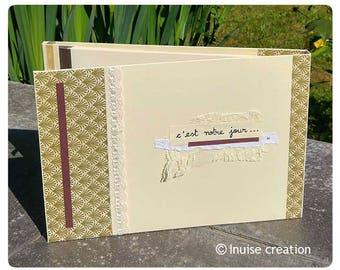 """Album photo, album de mariage """"c'est notre jour"""" personnalisable - dentelle, ruban, strass"""