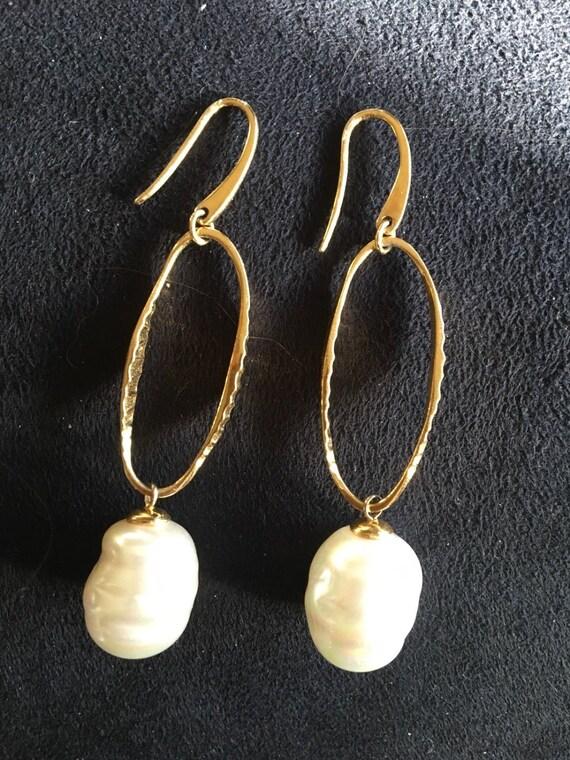 Pearl Drop Oval Hoop Earrings - Nordstrom