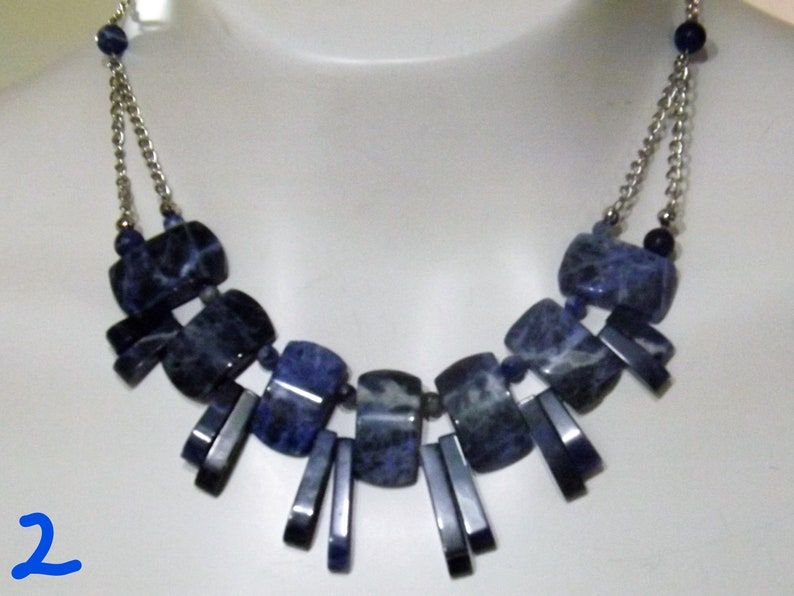 Blue Stone Sodalite Collar Necklaces and Chandelier Earrings