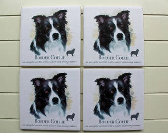 Ceramic Coasters, Tile Coasters, Coasters, Coaster Set, Border Collies, Sheep Dogs, Dogs, Housewarming Gift