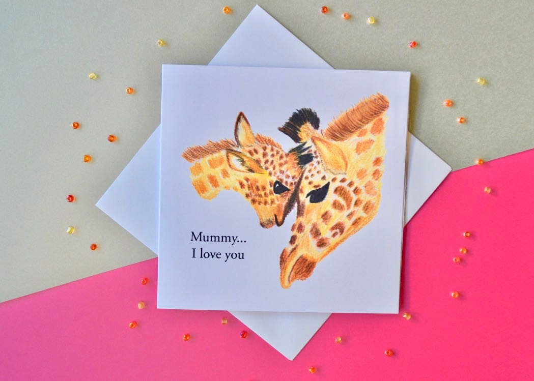 Giraffe Birthday Card Mum Birthdsy Card Card For Mum Card For Etsy
