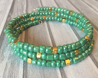 Bohemian Bracelet, Mint Green and Gold Wrap Bracelet, Memory Wire Bracelet, Beaded Bracelet, Gift for Her
